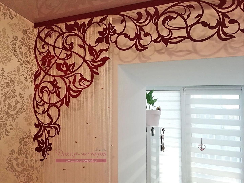 Ажурный ламбрекен Валенсия вишнёвого цвета, фрагмент.
