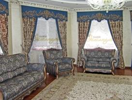 """Фото-98. Шторы в просторной гостиной в классическом стиле. Салон """"Эксклюзив"""", Казахстан."""