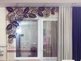 """Фото-137. Ажурный ламбрекен """"Розы-4"""" в интерьере кухни Евгении из Ханты мансийска."""
