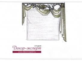 Эскиз-5. Проект декора окна с ажурным ламбрекеном для салона красоты в Тольятти.