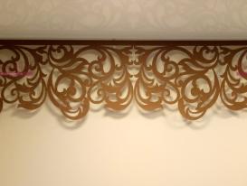 """Фрагмент ажурного ламбрекена дизайна """"Милан"""" для оформления музыкального зала детского сада в Подмосковье."""