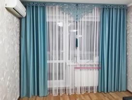 Комплект штор из ткани блэкаут  с ажурным ламбрекеном Марсель для Людмилы из Тольятти.
