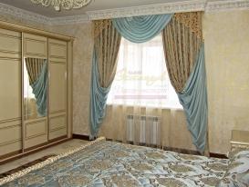 """Фото-102. Шторы с ажурным элементом в классической спальне. Салон """"Эксклюзив"""", Казахстан."""
