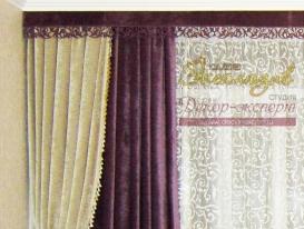 Фото-66. Деталь проекта декорирования интерьера от салона Эксклюзив из Казахстана с ажурным ламбрекеном и подхватом от нашей студии.