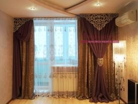 """Фото-72. Общий вид штор с ажурным ламбрекеном """"Неаполь"""" в квартире в Тольятти."""
