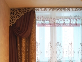 Фото-77. Часть штор в новом моём проекте с ажурными ламбрекенами для спальни в квартире в Тольятти.