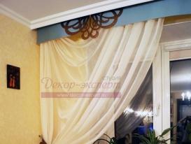 Фото-27. Фрагмент штор с ажурными элементами на гладком ламбрекене. Сызрань.