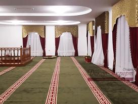 Фото-202. Шторы с ажурным ламбрекеном в красном зале мечети на втором этаже в Омске.