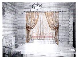 Эскиз-1. Проект штор в гостиной загородного дома.