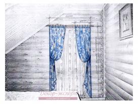 Эскиз-2. Проект штор в спальне загородного дома.