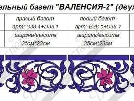 """Дополнительные элементы двухцветного багета для ажурного ламбрекена """"Валенсия-2"""". Артикулы: B38.3, B38.4, B38.5, и B38.2."""