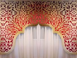 """Авторский дизайн Студии Декор-эксперт. Двухцветный арочный ажурный ламбрекен """"Восточная арка""""изготовлен из красного и золотого бархата для Мечети в Омске."""