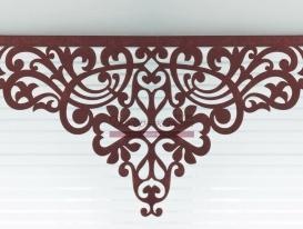 Пример готовой центральной части ажурного ламбрекена «Ренессанс-1» ткань «Софт» цвет венге.