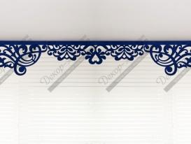 Ажурный ламбрекен «Ренессанс-2» ткань «Софт» цвет синий.