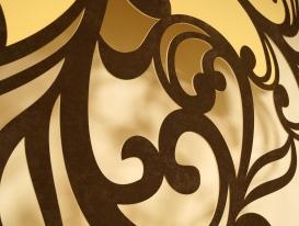 Деталь двухцветного ажурного ламбрекена,  хорошо видно высокое качество резки.