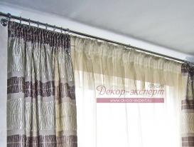 Фото-27. Круглый металлический карниз из двух напрявляющих цвета хром с наконечником из стекла Сваровски.