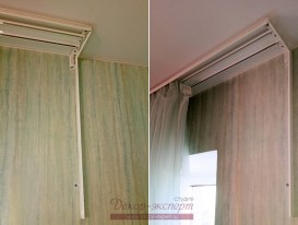 Профильные алюминиевые карнизы с вертикальным элементом над выходом на балкон.