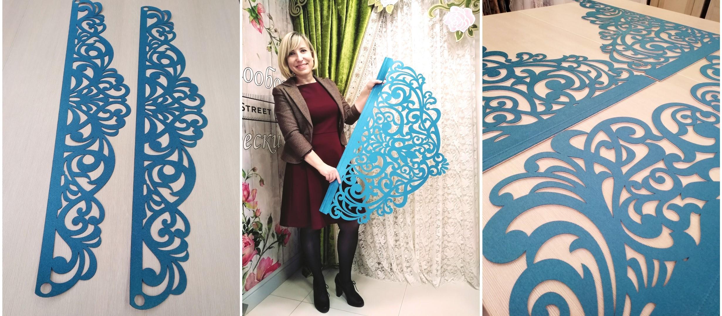 А это бирюзовые ажурные подхваты для штор в спальне, элементы ажурного ламбрекена Севилья и я - Ваш дизайнер по текстилю в интерьере Светлана Никитина.