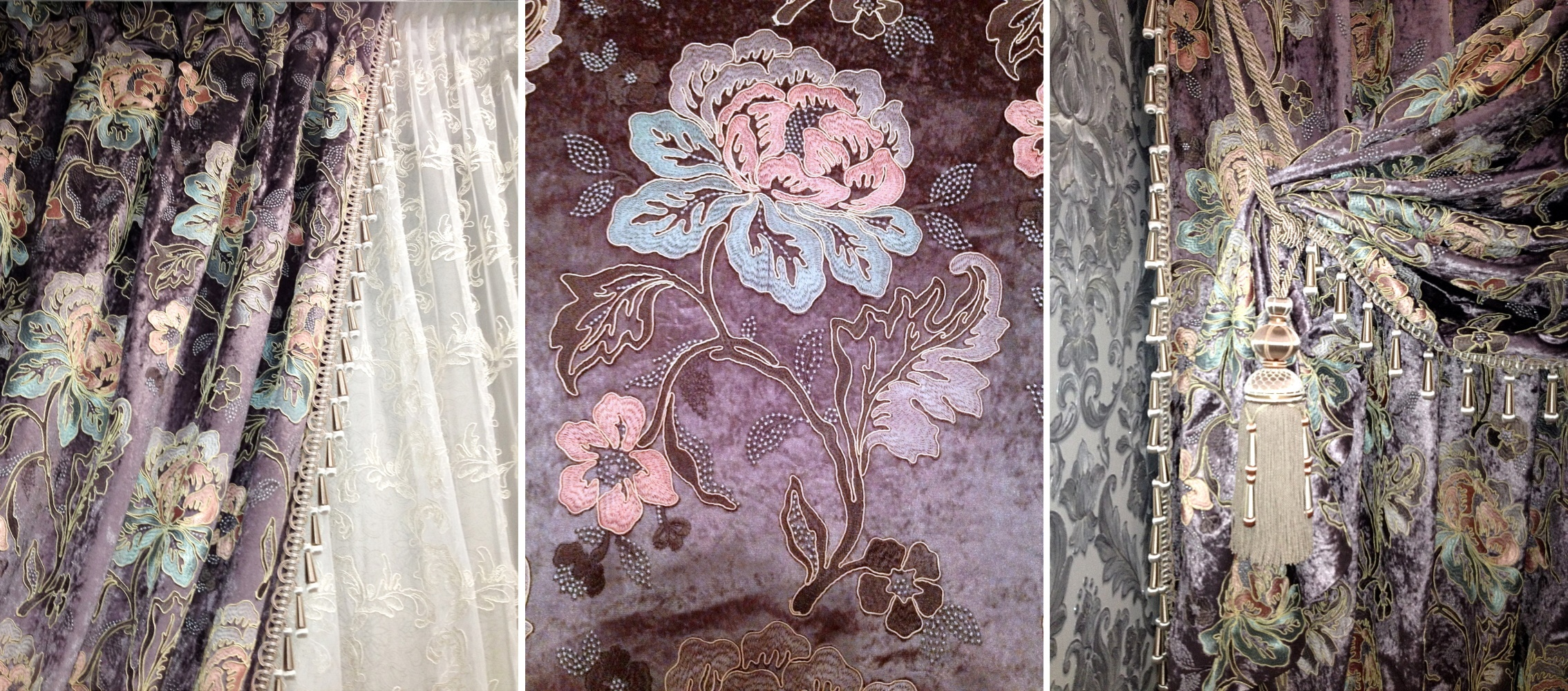 Проект Елены. Фрагмент шторы с отделкой, вышивка на портьерной ткани, декоративная кисть.