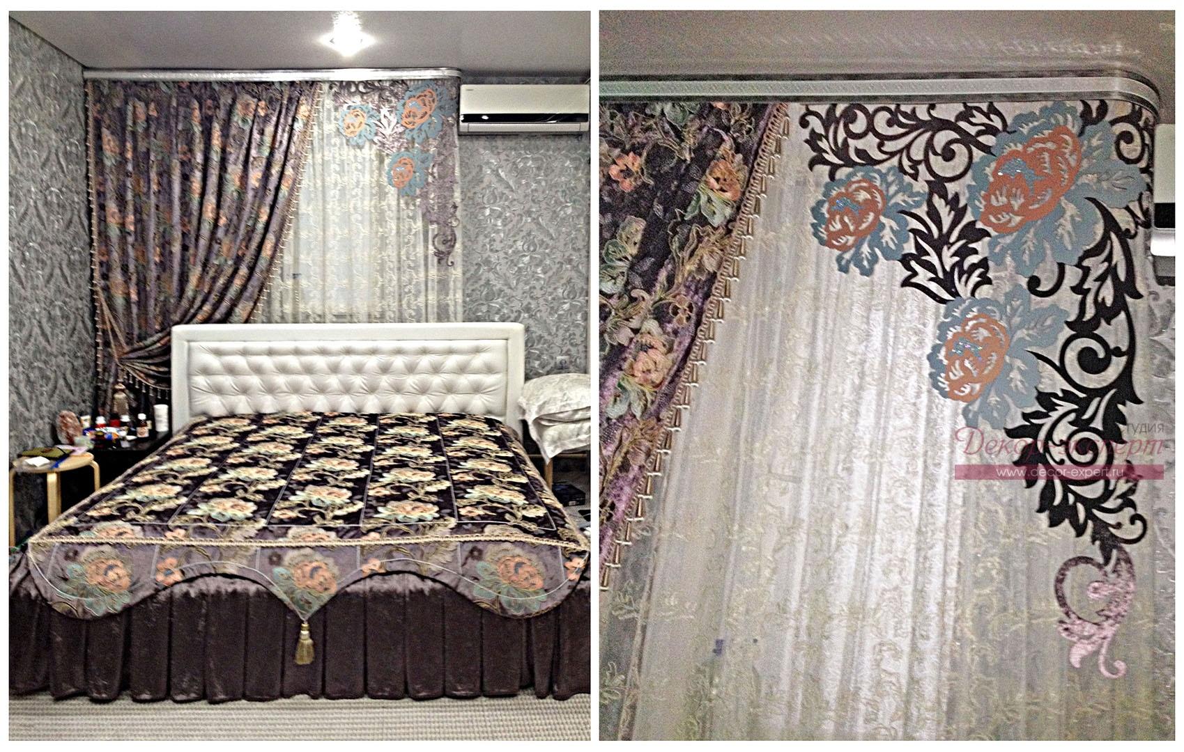 Покрывало шторы и многоцветный ламбрекен в интерьере спальни.