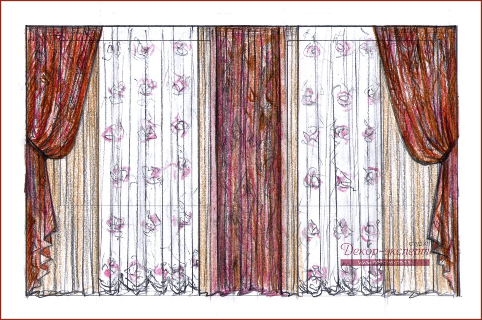 Исходный эскиз новых штор для спальни Татьяны из Тольятти.