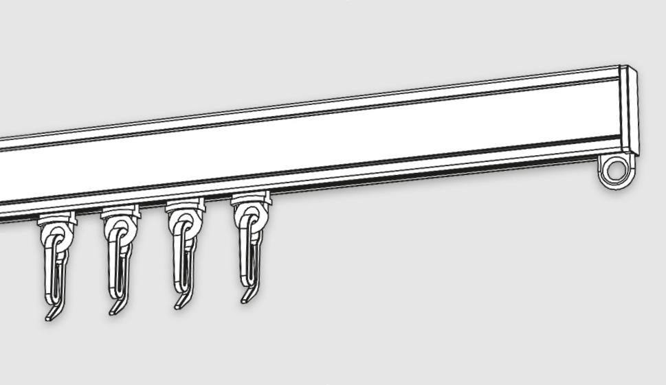 Профильный алюминиевый карниз с бегунками.
