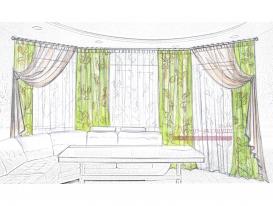 Эскиз 1 портьеры и тюль для гостиной зоны.