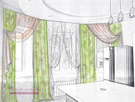 Эскиз 2 портьеры и тюль для кухонной зоны.