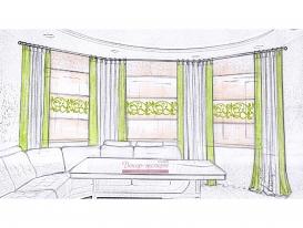 Эскиз 3 портьеры и римские шторы с ажурной аппликацией для гостиной зоны.