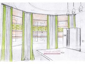 Эскиз 4 портьеры и римские шторы с ажурной аппликацией для кухонной зоны.