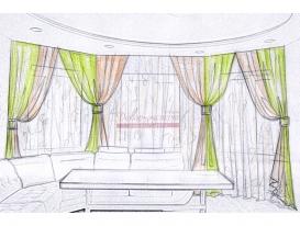 Эскиз 5 шторы из легких тканей с заколками для гостиной зоны.