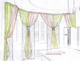 Эскиз 6 шторы из легких тканей с заколками для кухонной зоны.