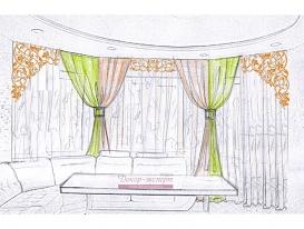 Эскиз 7 шторы с ажурными ламбрекенами для гостиной зоны.