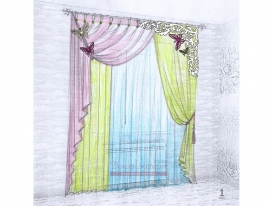 Эскиз штор в детскую комнату для девочки 01