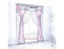 Эскиз штор в детскую комнату для девочки 02