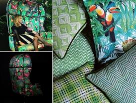 Попугаи и геометрия в дизайне тканей фабрики Aldeco коллекция Bloom.