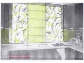 Эскиз-7. Римские шторы для оливковой кухни. Проект.