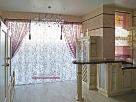 Фото-95.  Общий вид штор для кухни в стиле Прованс