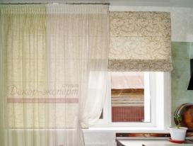 Фото-83. Оливковая римская штора для кухни.