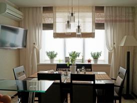 Фото-78. Римские и рулонные шторы для кухни в Тольятти.