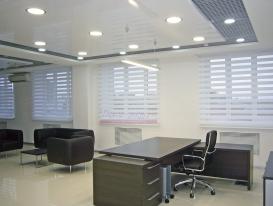 Фото-51. Рулонные шторы зебра для офисного помещения в пропускающем уличный свет положении.