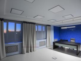 Фото-44. Декорирование окон в большом офисном помещении и шторы плиссе.