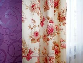 Портьерная ткань с цветочным принтом и тюль сетка для спальни.