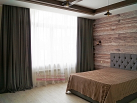 Фото-100. Серые шторы для спальни в стиле Loft
