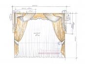 Эскиз-2. Проект штор в классическом стиле для спальни.
