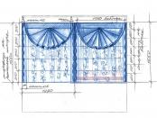 Эскиз-5. Проект римских штор в спальню.