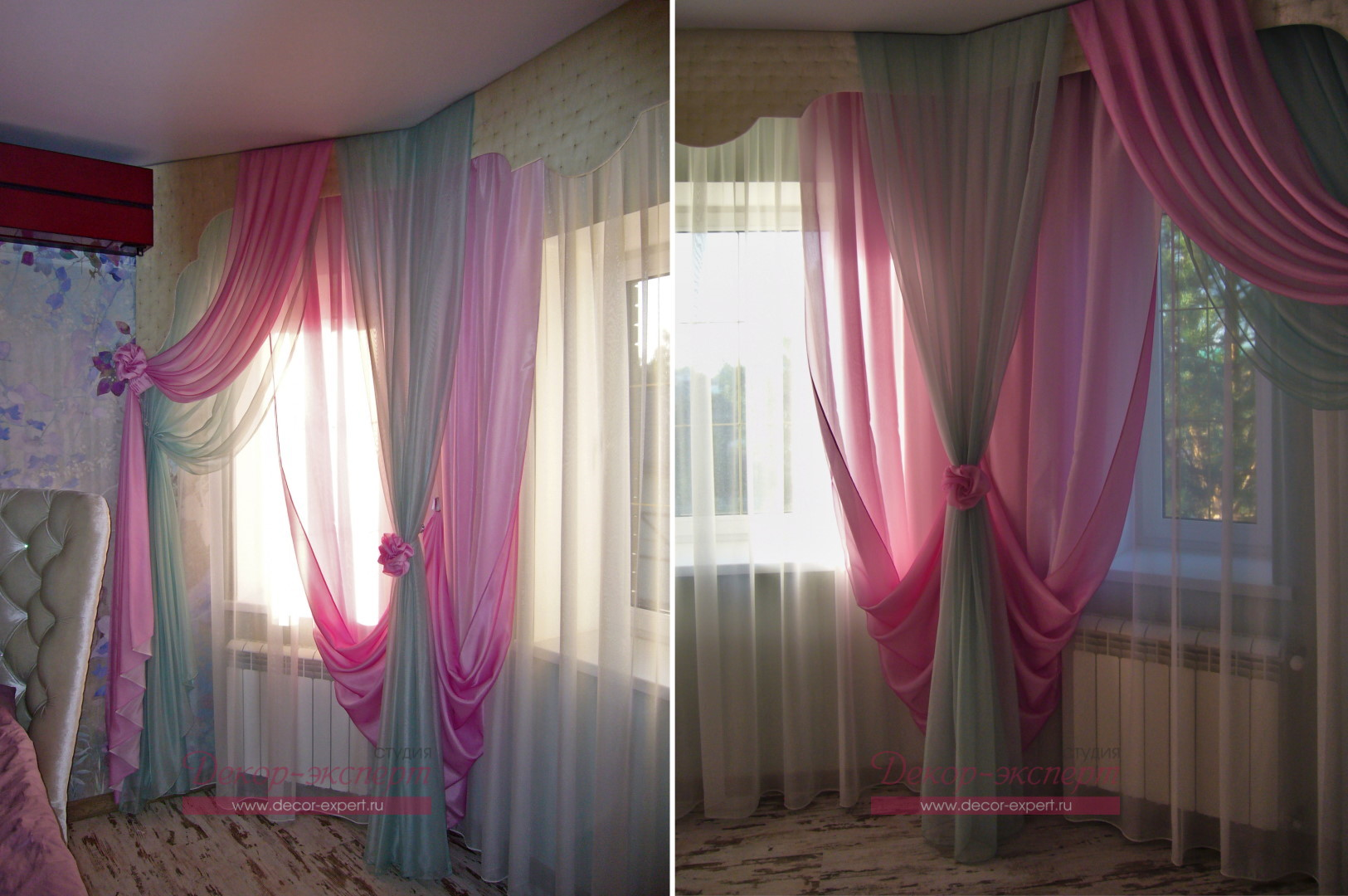 Тюль и двухцветные драпировки в различных частях эркера в спальне.