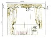Эскиз-1. Проект штор для гостинной комнаты.