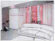 Эскиз-2. Проект штор для гостиной в Тольятти.