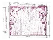 Эскиз-4. Классические шторы для гостиной в Тольятти.